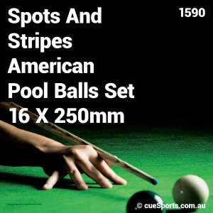 Spots And Stripes American Pool Balls Set 16 X 250mm