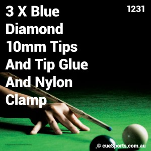 3 X Blue Diamond 10mm Tips And Tip Glue And Nylon Clamp