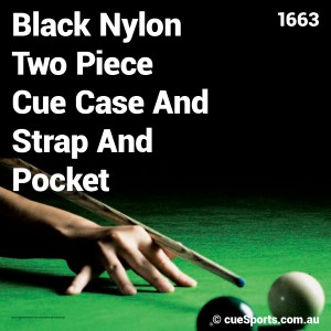 Black Nylon Two Piece Cue Case And Strap And Pocket