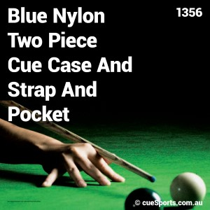 Blue Nylon Two Piece Cue Case And Strap And Pocket