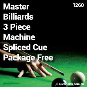 Master Billiards 3 Piece Machine Spliced Cue Package Free Case