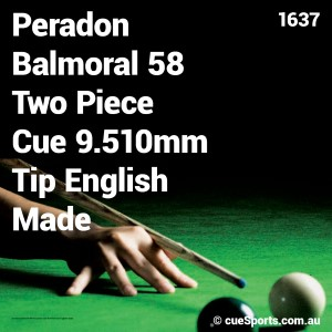 Peradon Balmoral 58 Two Piece Cue 9.510mm Tip English Made