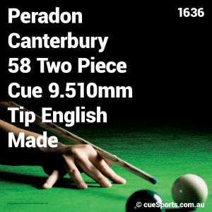 Peradon Canterbury 58 Two Piece Cue 9.510mm Tip English Made