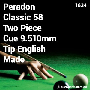 Peradon Classic 58 Two Piece Cue 9.510mm Tip English Made