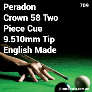 Peradon Crown 58 Two Piece Cue 9 510mm Tip English Made