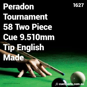 Peradon Tournament 58 Two Piece Cue 9.510mm Tip English Made